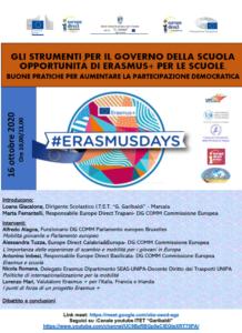 Read more about the article #ERASMUSDAYS 2020, appuntamento il 16 Ottobre dalle ore 10.00